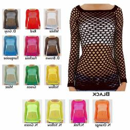 Women's Nylon Fishnet Long Sleeve Blouse Top Cover Up - U.S.