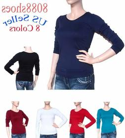 Women's One Size Long Sleeve Stretch Plain Round Scoop Neck
