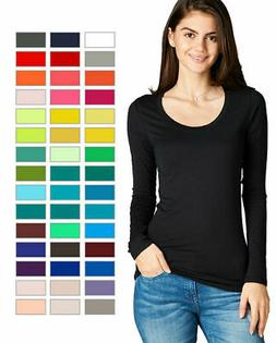 Women's Premium Basic Long Sleeve Round Crew Neck T Shirt To