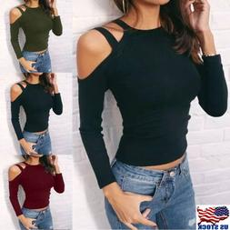 Women's Sexy Halter Cold Shoulder Slim Fit Long Sleeve Tee T