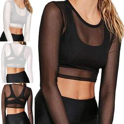 Women's Sexy Sheer Mesh Tops Long Sleeve Crop Top Sexy Tee B