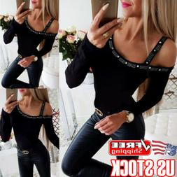 Women's Sexy Strap Cold Shoulder Slim Fit Long Sleeve Tee To