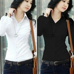 Women's Short/Long Sleeve Lapel Collar T Shirt Button Down B