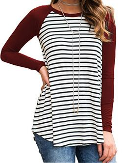 Halife Women's Striped Solid Raglan Long Sleeve Sports Tunic