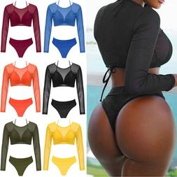 Women Sexy Long Sleeve Swimwear Padded Bra Bikini Set Beach