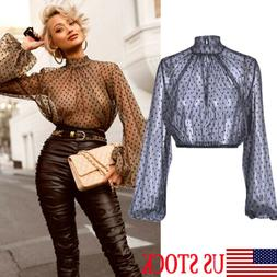 Women Sheer Mesh Long Puff Sleeve Turtle Neck See Through Cr