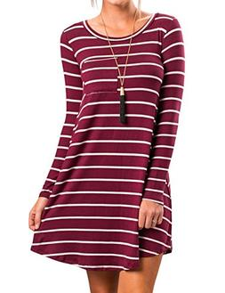 Halife Women Striped Long Sleeve Crewneck T-Shirt Dress Tuni