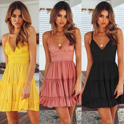 Women Summer Boho Short Mini Dress Evening Cocktail Party Be