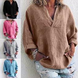 Women V Neck Casual Loose Long Sleeve Blouse Cotton Linen T