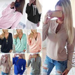Women V Neck Casual Sweatshirt Long Sleeve Sweater Pullover