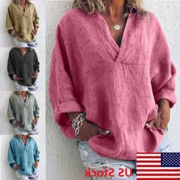 Women V Neck Loose Long Sleeve Blouse Cotton Linen Summer Ca