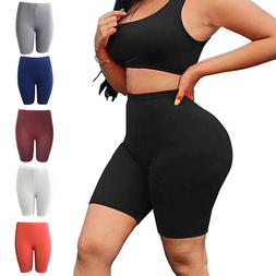 Womens Biker Shorts Leggings High Waist Thick Yoga Pants Fit