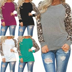 Womens Leopard Raglan Long Sleeve T Shirt Casual Tops Basic