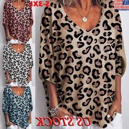 Womens Long Sleeve Baggy Ladies Pullover Top Leopard Sweater