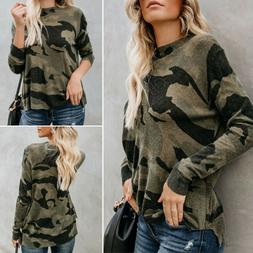 Women's Long Sleeve Baggy Loose Camo Camouflage T-Shirt Ca