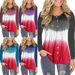 Womens Long Sleeve Button Casual Ruched Baggy Blouse T Shirt