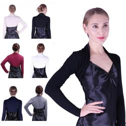Womens Long Sleeve Shrug Bolero Cropped Knit Stretch Cardiga