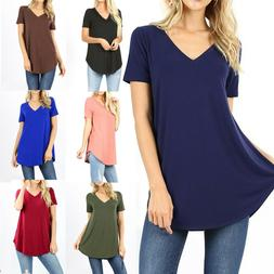 Womens Loose Fit Short Sleeve T-Shirt V-Neck Casual Basic Tu