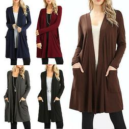 Womens Open Front Fly Away Cardigan Sweater Long Sleeve With