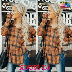 Womens Plaid Tunic Tops Long Sleeve Casual Loose Blouse Fash