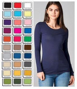 Womens T Shirt Crew Long Sleeve Light Weight Active Basic St