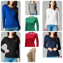 Womens Thermal Long Sleeve Basic Solid Waffle Knit Crew Neck