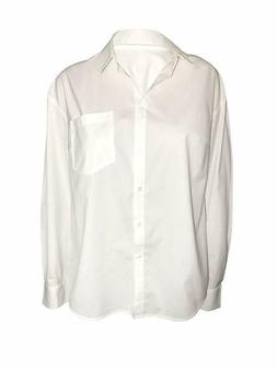Women's White Long Sleeve Button down Shirt Blouse With Po