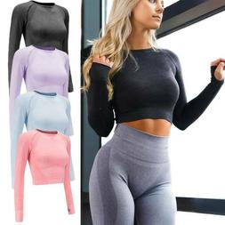 Womens Yoga Gym Crop Top Seamless Compression Long Sleeve Wo