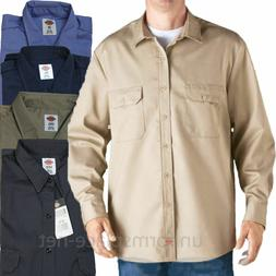 Dickies Work Shirts Mens LONG SLEEVE Button Front Twill Cott