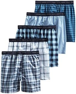 Hanes Men's Yarn Dyed Plaid Boxers 5-Pack 841BX5 XL Assorted
