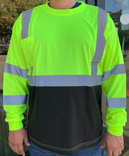 yellow high visibility long sleeve safety shirt