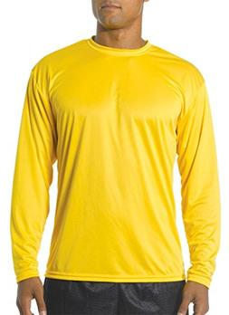 A4 Youth Cooling Performance Crew Long Sleeve T-Shirt, Gold,
