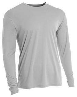 A4 Youth Cooling Performance Crew Long Sleeve T-Shirt, Silve