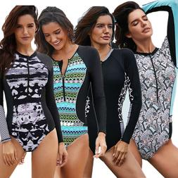 Zip Front Printed Long Sleeve Rash Guard One Piece Swimsuit